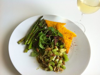 Bean Salad with Polenta and Asparagus