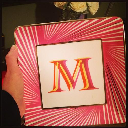 Monogrammed plate from C Wonder