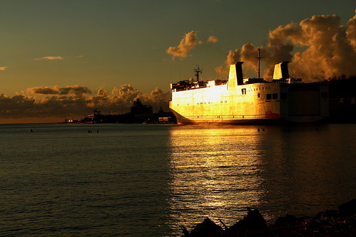 sunset reflection ferry puertorico ships mayaguez
