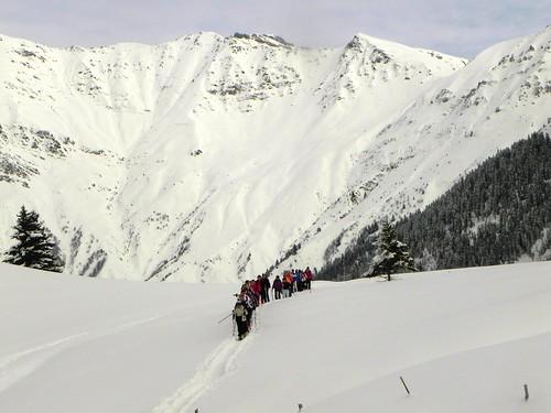 Le Groupe 2 arrive au chalet du Mélèze