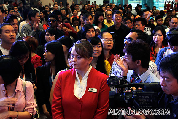 A large crowd came to watch the show at Changi Airport Terminal 3