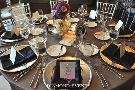 silver purple reception tables diamond events
