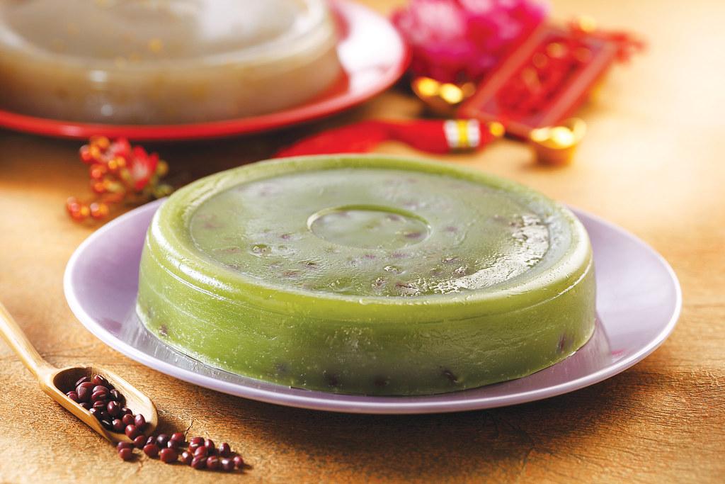 绿茶糯米糕,红豆葡萄干