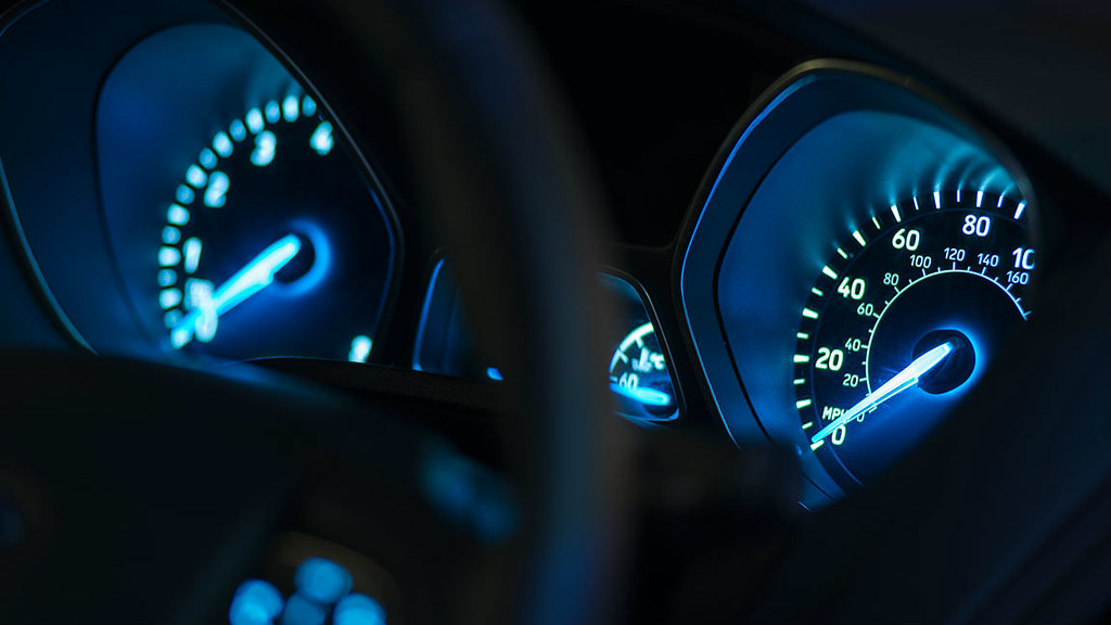 Photo of the dashboard of a car