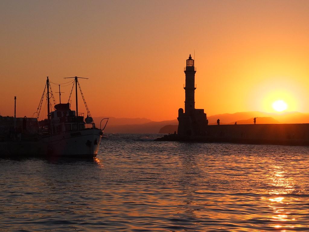 Pôr-do-sol em Chania