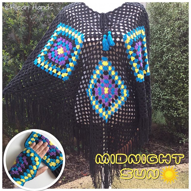 Love this #misnightsun #poncho !! Costume order :) how cool is to see the different colour combinations come alive plus! In a different material ! This is 100% cotton! It took me 2 afternoons/evenings to make the whole poncho which is pretty good timing a