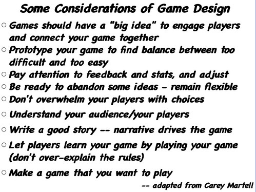 Considerations of Game Design