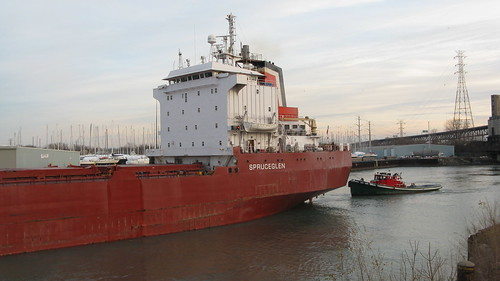A large Canadian freighter ship traveling northbound through the Calumet River channel.  Chicago Illinois.  Sunday, November 25th, 2012. by Eddie from Chicago