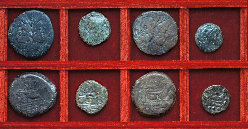 RRC 151 S.FVRI Furia bronzes, RRC 151B dolphin second series bronzes, Ahala collection, coins of the Roman Republic