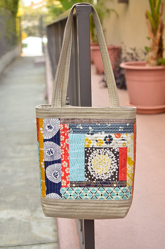 blues quilted tote side a