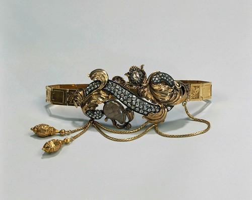 008-Pulsera de oro, plata dorada, y diamantes, anónimo, 1845 - 1850- Rijksmuseum