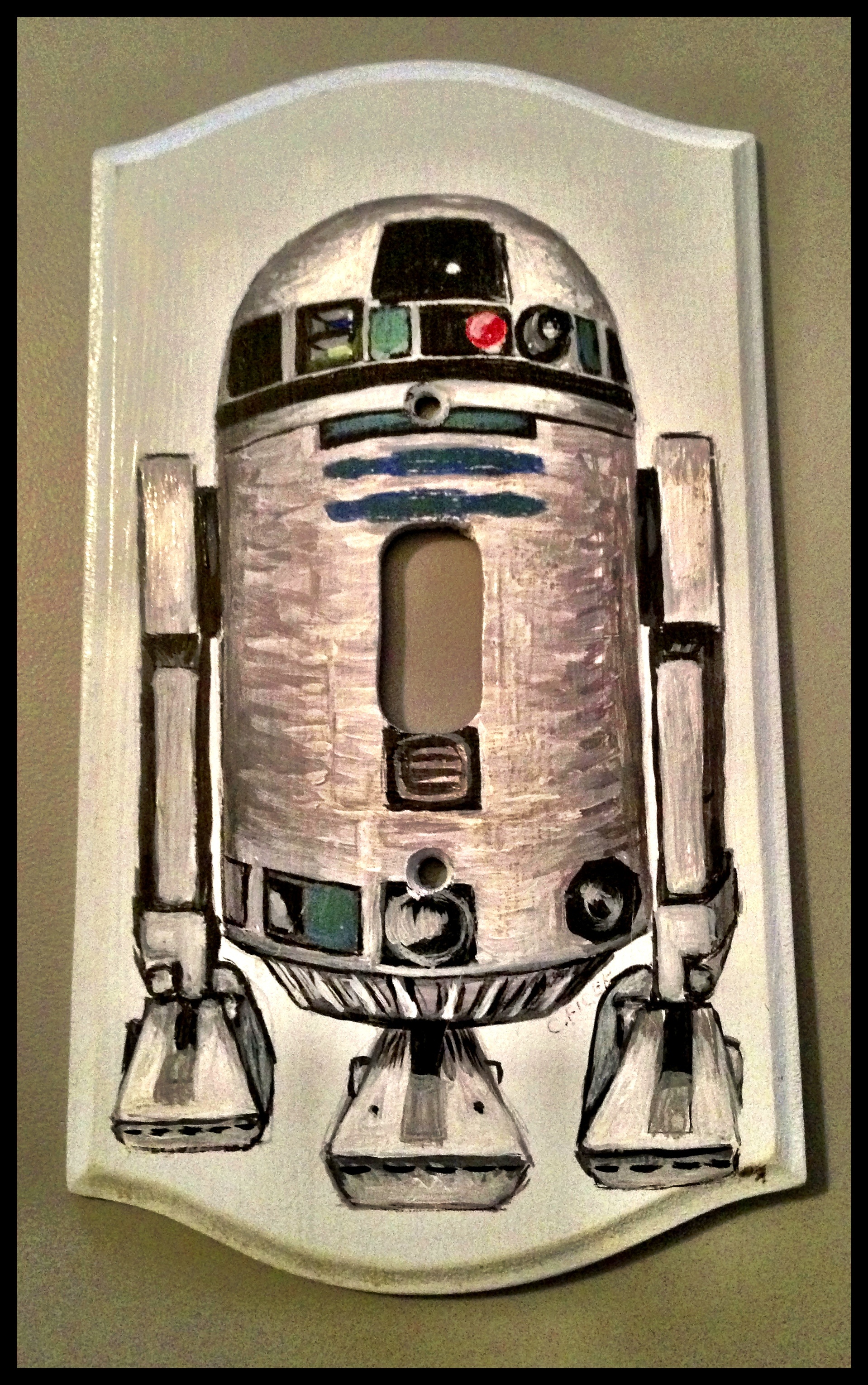Handpainted R2-D2 Lightswitch Plate