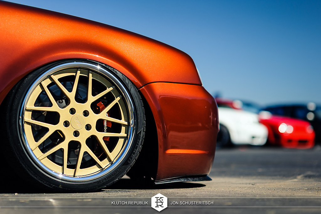 copper orange burnt orange vw mk4 r32 at canibeats first class fitment 2012 3pc wheels static airride low slammed coilovers stance stanced hellaflush poke tuck negative postive camber fitment fitted tire stretch laid out hard parked klutch motorsports seen on klutch republik