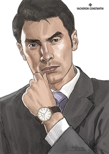 guy portrait template for Vacheron Constantin - colour version