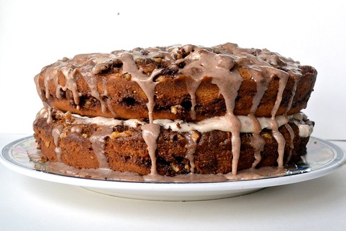 cinnamon walnut coffee cake with cream cheese filling