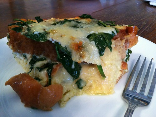 spinach and Gruyere strata