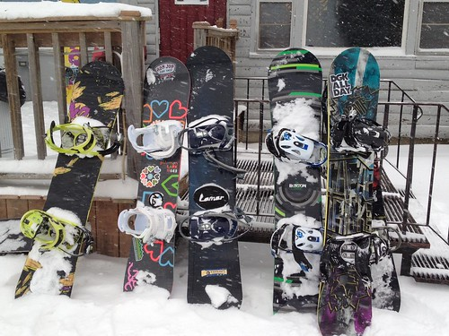 Snowboards waiting to hit the mountain at Lost Valley