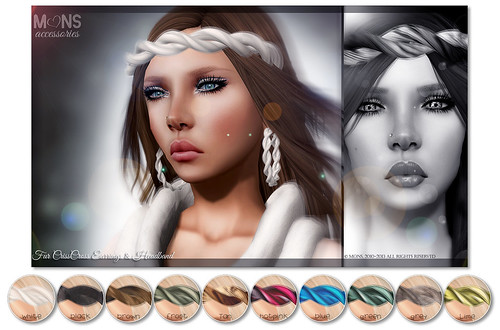 MONS / Fur CrissCross Earrings & Headband (MESH) by Ekilem Melodie - MONS