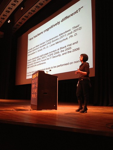 """Are hackers cognitively different?"" – awareness raising talk by @violetblue on harm reduction methology. #29c3"