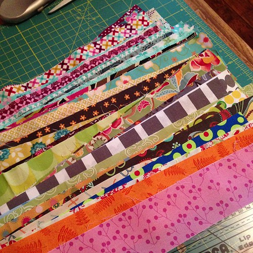Cutting scraps... so far enough for 11 #scrappytripalong blocks (plus some Scrap Vomit squares)