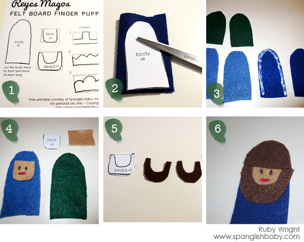 SpanglishBaby: Reyes Magos felt board finger puppets