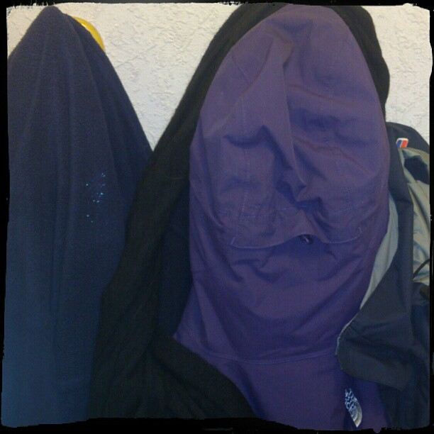 In the hood - This is my wife's Northface :-o I was a little surprised to see a face coming down the stairs...
