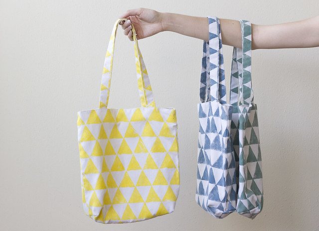 hand-printed bags