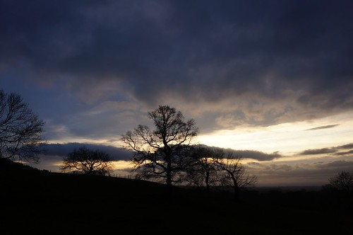 Winter evening sky above Whitehouse Farm, North York Moors