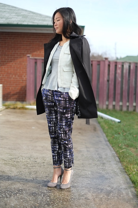 Banana Republic navy trench, HandM printed pants
