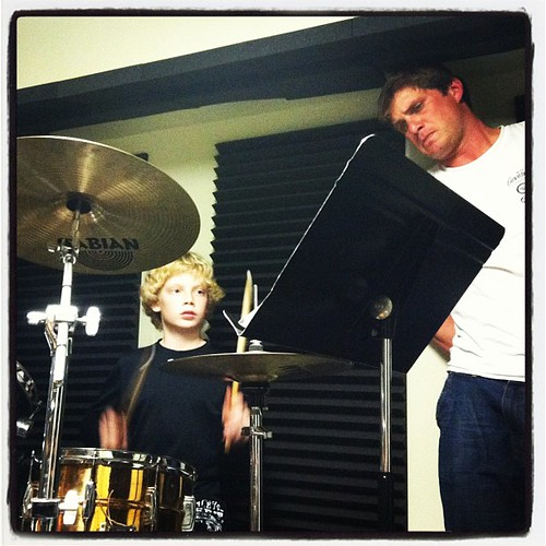 Uncle Josh and Micaiah at drum lessons...
