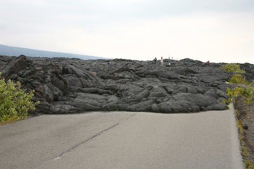 Lava blocks the road
