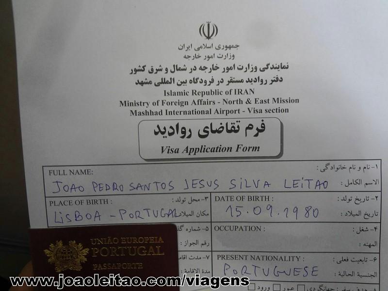 Formulario de pedido de visto à chegada no aeroporto em Irão