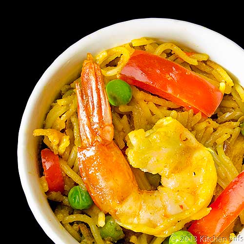 Singapore Noodles in White Ramekin, Overhead View