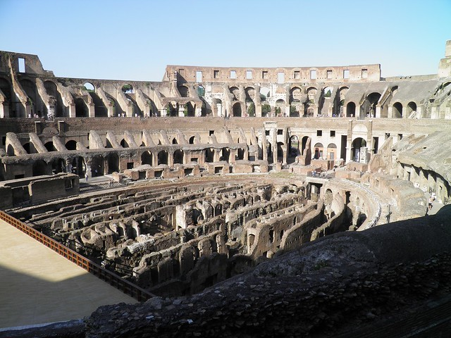 The interior of the Colosseum (Amphitheatrum), Colosseum Valley, Rome