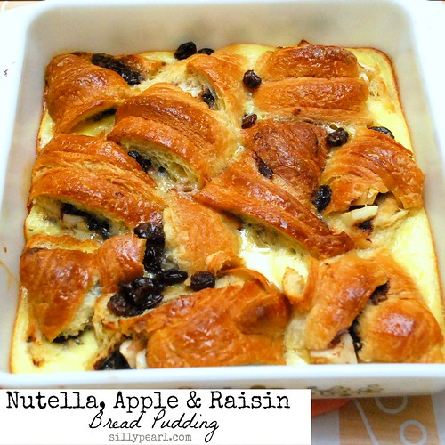 Nutella Apple and Raisin Bread Pudding by The Silly Pearl on Multiples in the Kitchen