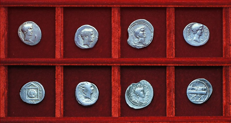 RRC 496 M.ANTONIVS Mark Antony, RRC 497 C.CAESAR Octavian, Ahala collection Roman Republic