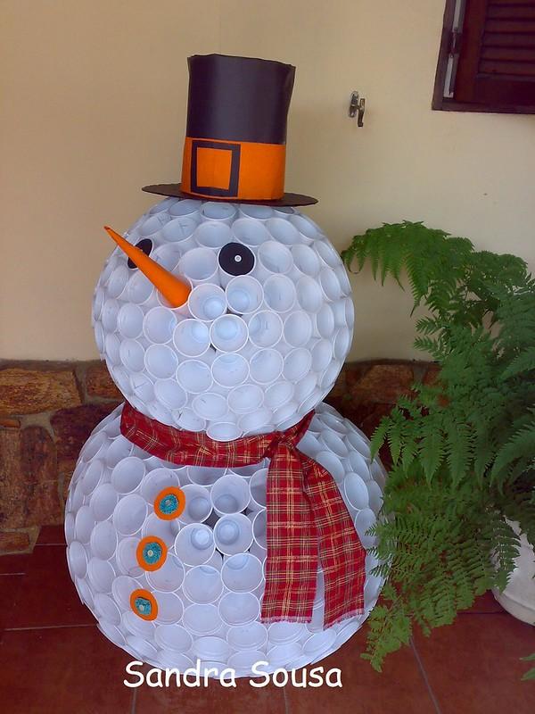 boneco de neve reciclado