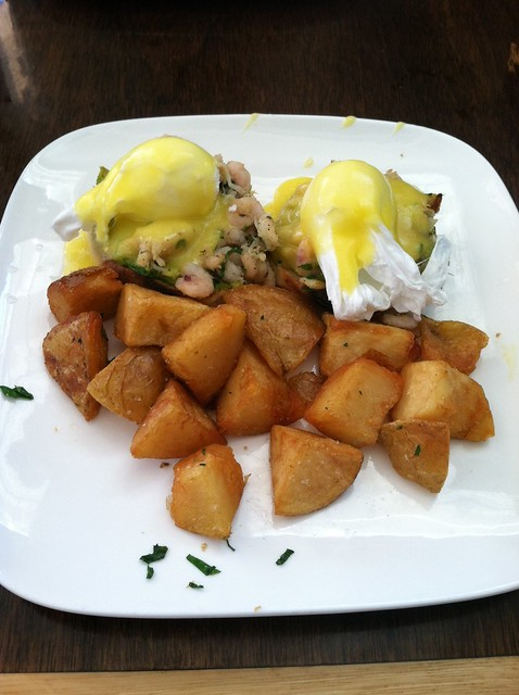 Dungeness crab and bay shrimp benedict