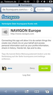 Navigon mit Foursquare-Integration