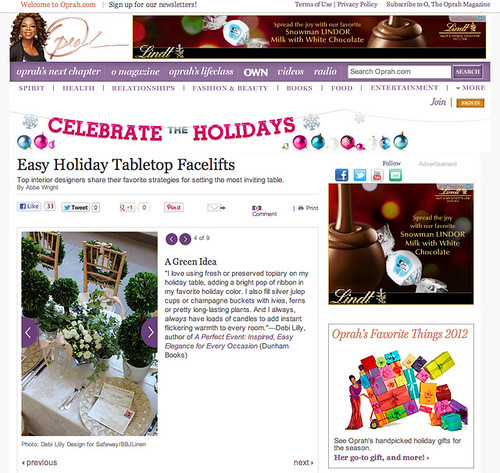 Oprah.com Feature - Easy Holiday Tabletop Facelifts!