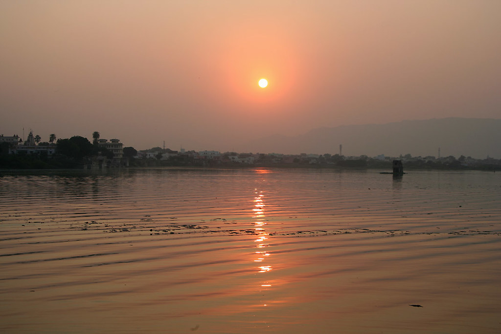 Sunset over Ana Sagar lake, Ajmer
