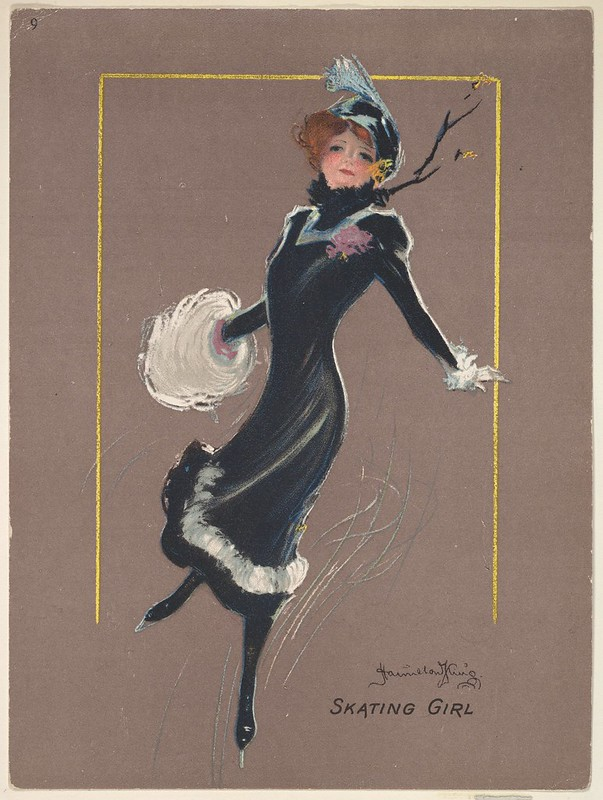 sketch of woman in black skating along on one skate