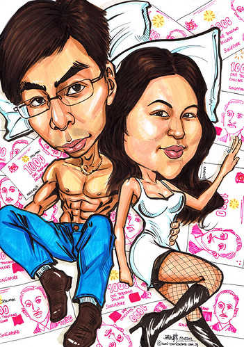 Couple caricatures lying on a pile of notes