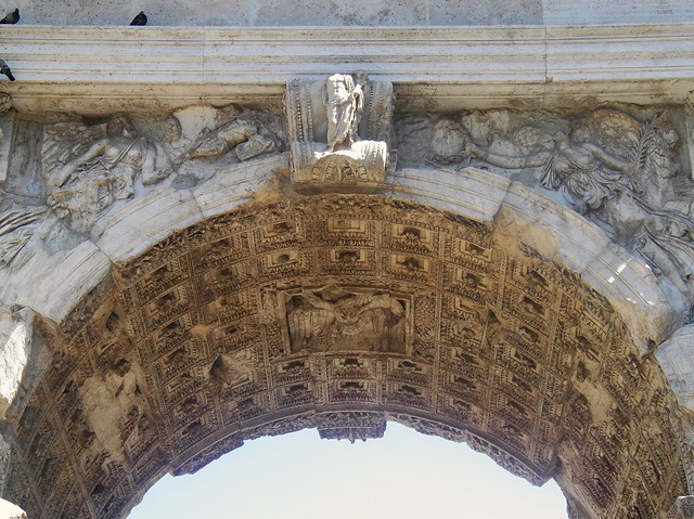 The Arch of Titus, Upper Via Sacra, detail of the central soffit coffers, Rome