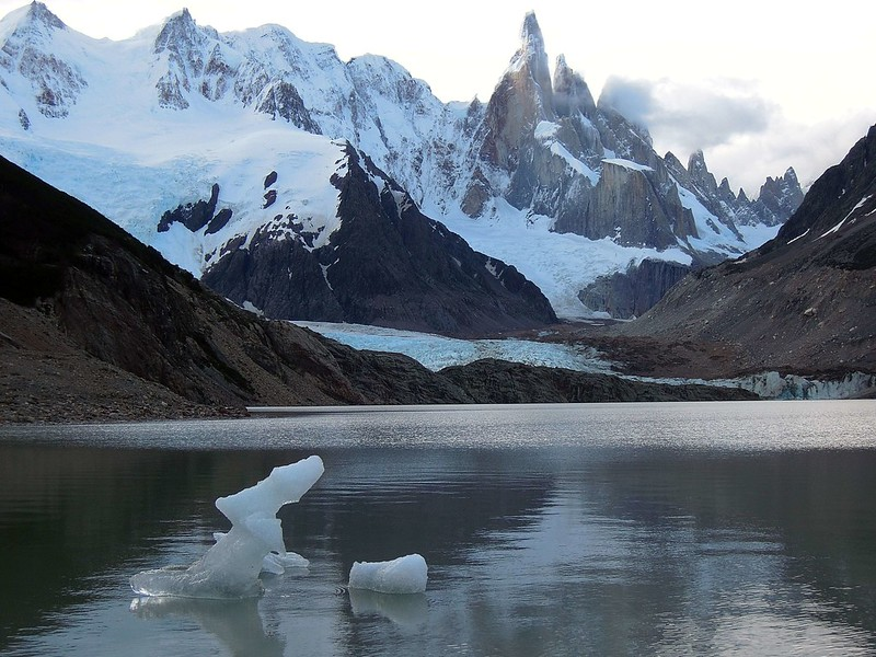 Iceberg on Laguna Torre with Cerro Torre in the background