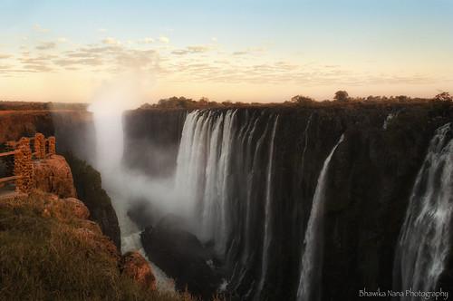 sunrise landscape waterfall gorge victoriafalls zambia