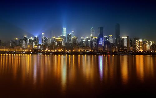 china city night landscape downtown nightscape clear shore chongqing jialingriver nanbinroad jiefangbeicbd