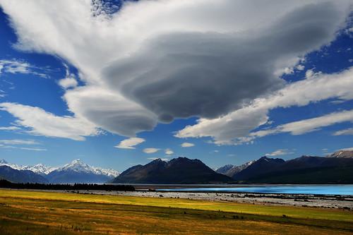 blue newzealand sky lake snow mountains weather clouds wideangle canterbury southisland nationalgeographic mountcook nikon18135