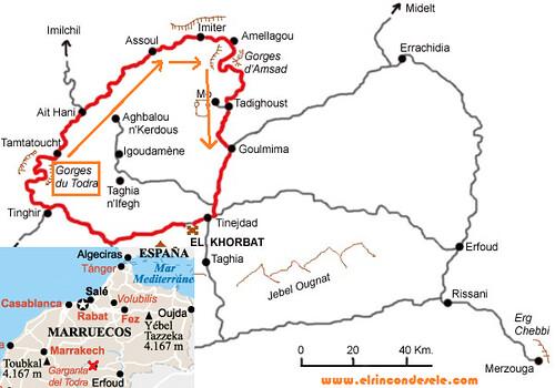 Mapa ruta bereber por el Medio Atlas de Marruecos
