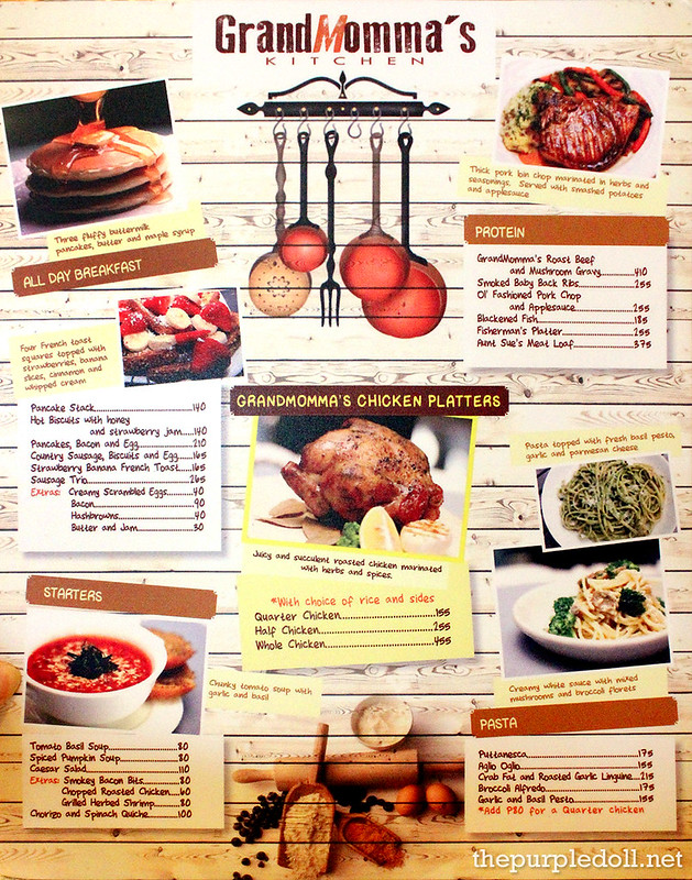 GrandMomma's Kitchen Menu 1